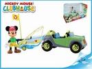 Mickey Mouse auto 12cm s rybářským člunem, s kloubovou figurkou a doplňky v krabičce