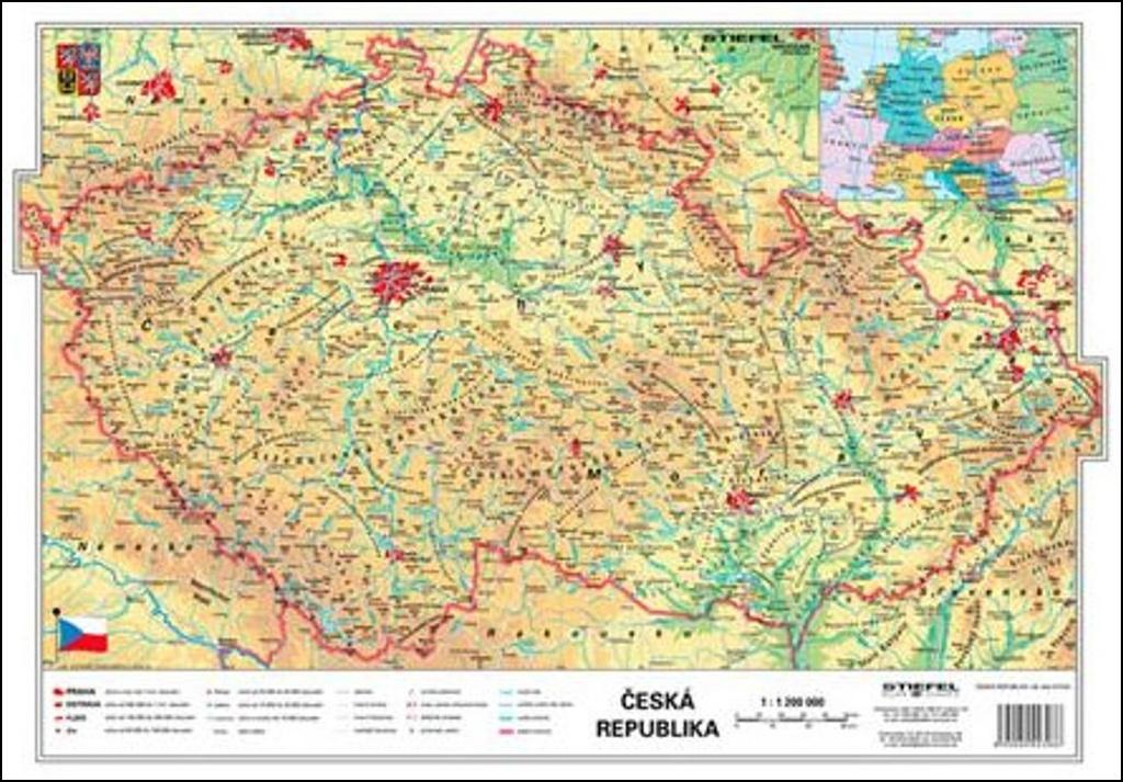 ČR fyzická/kraje - mapa A3