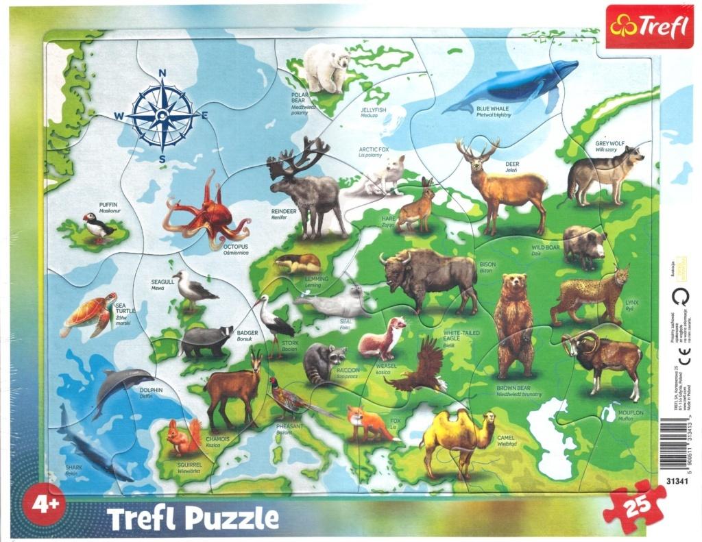 Puzzle Mapa Evropy se zvířátky